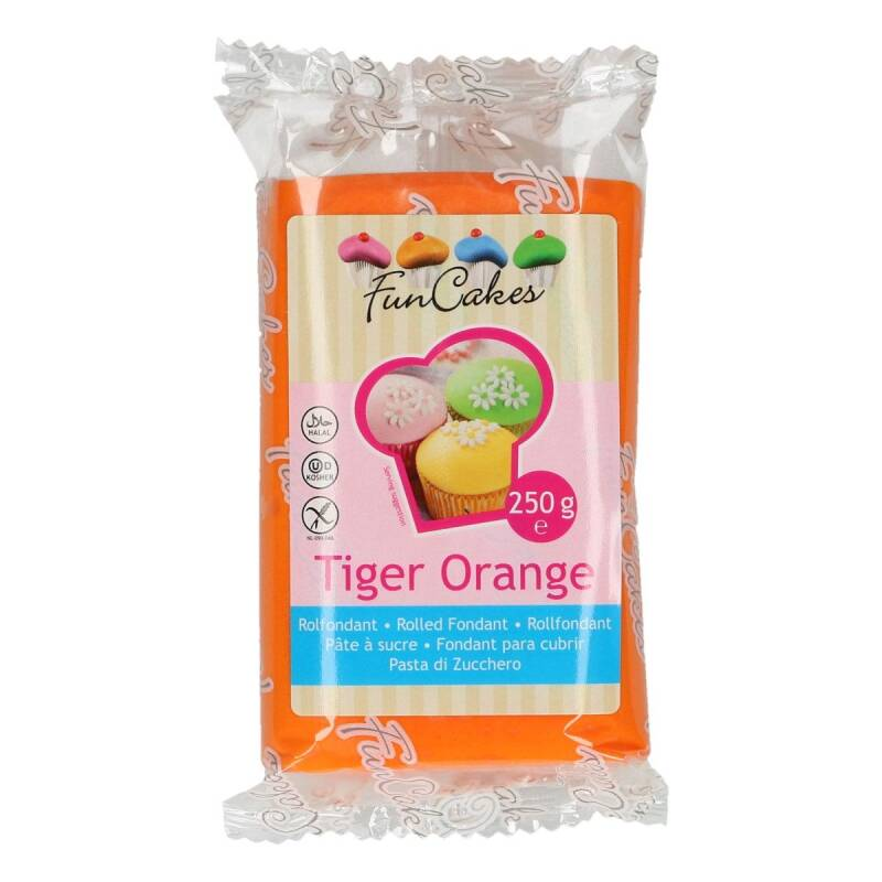 Funcakes Fondant Tiger Orange 250 Gram
