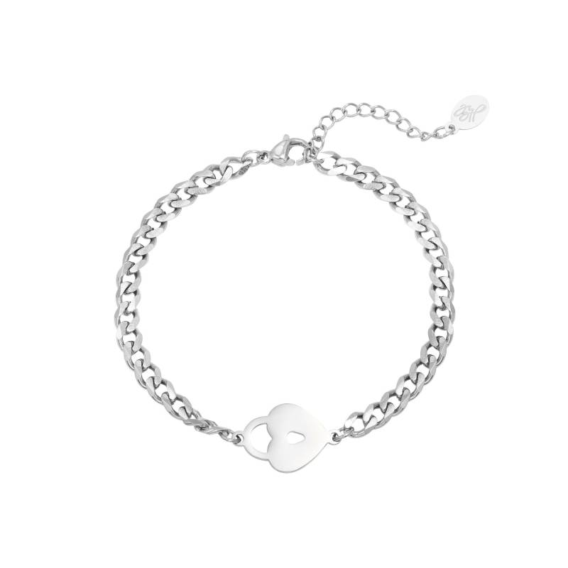 Locked heart bracelet - zilver