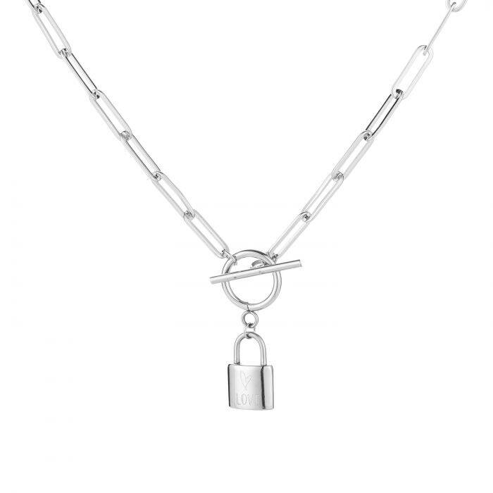 Chunky lock necklace - zilver