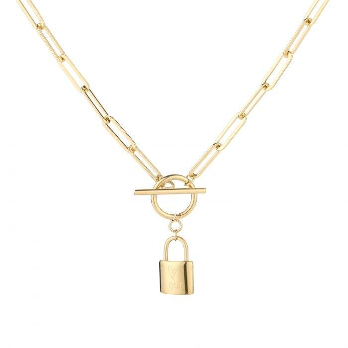 Chunky lock necklace - goud