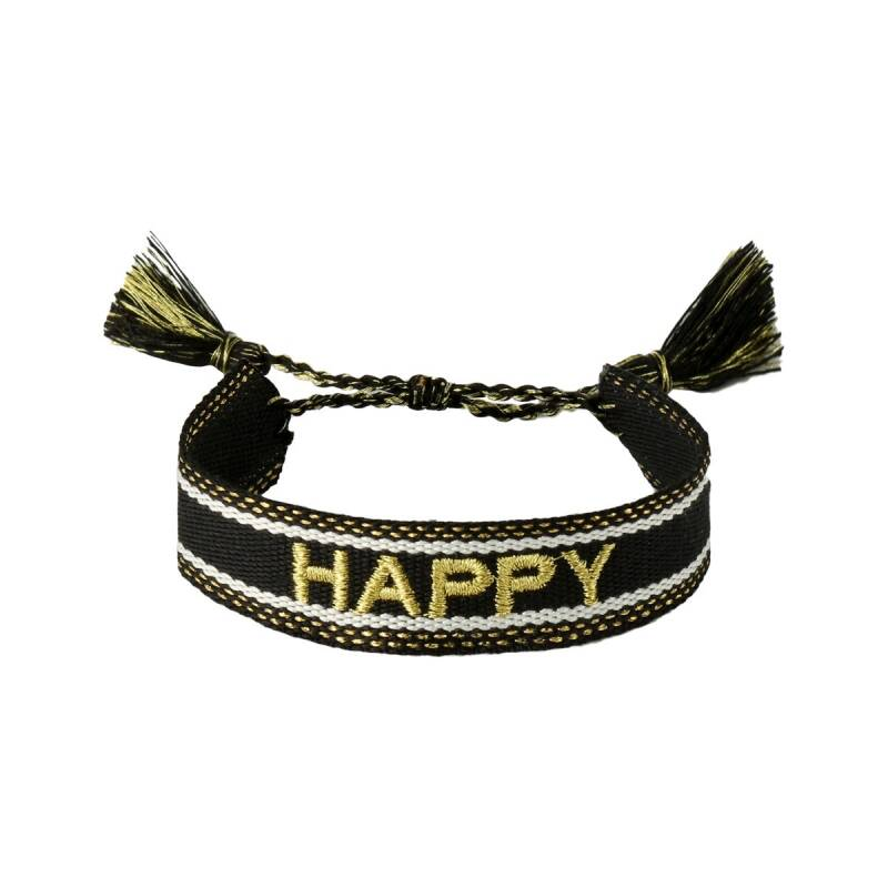 'HAPPY' armband - zwart/goud