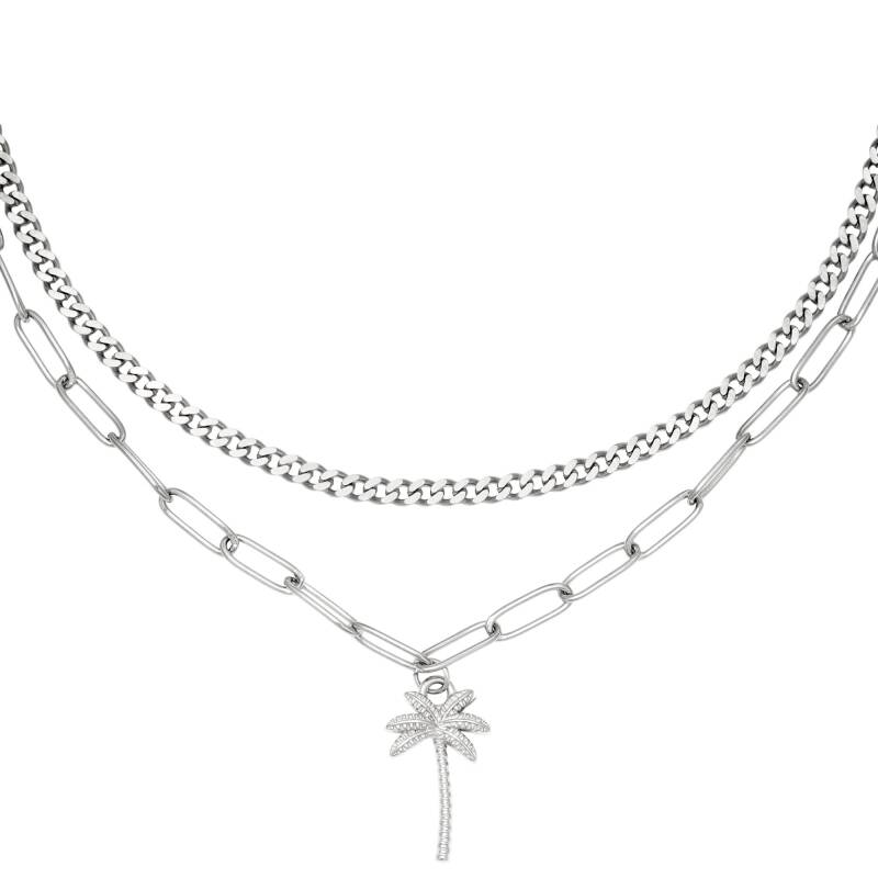 Palm tree ketting - zilver