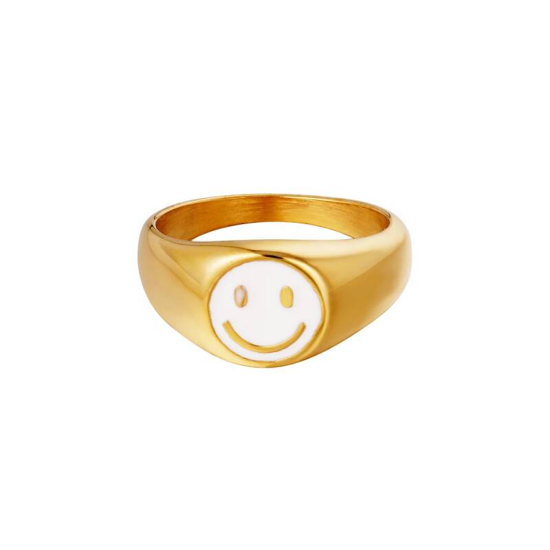 Smiley ring - goud/wit