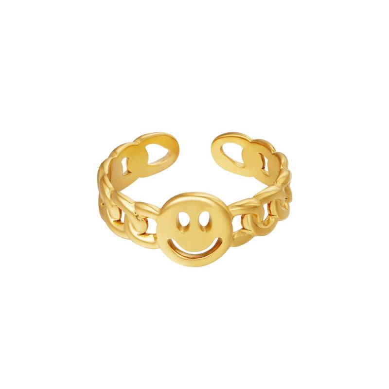 One size smiley ring - goud