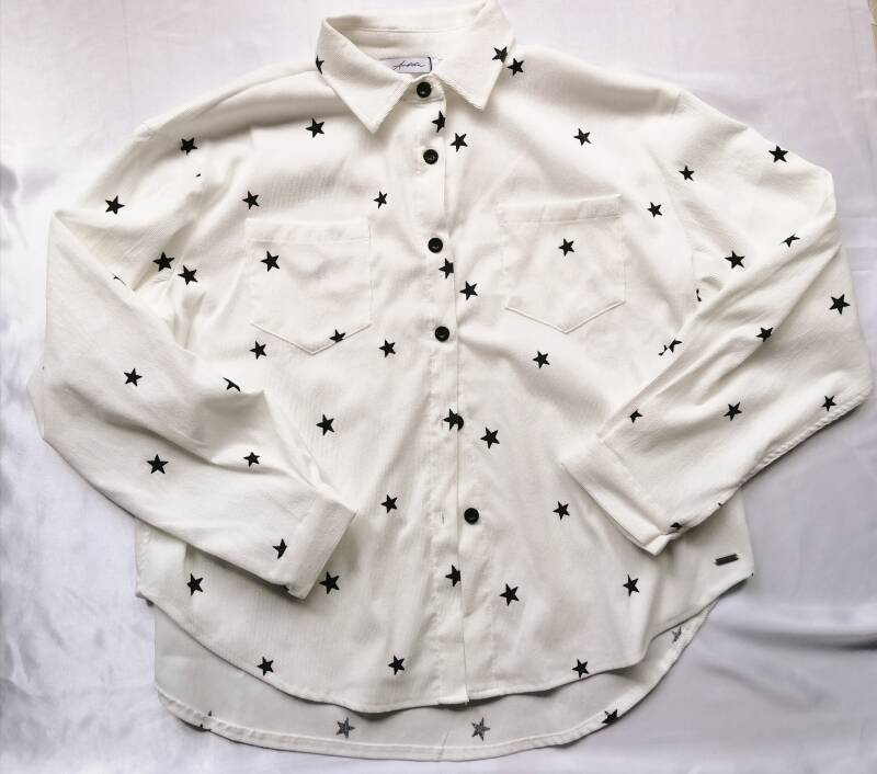 Printed Star Blouse - White