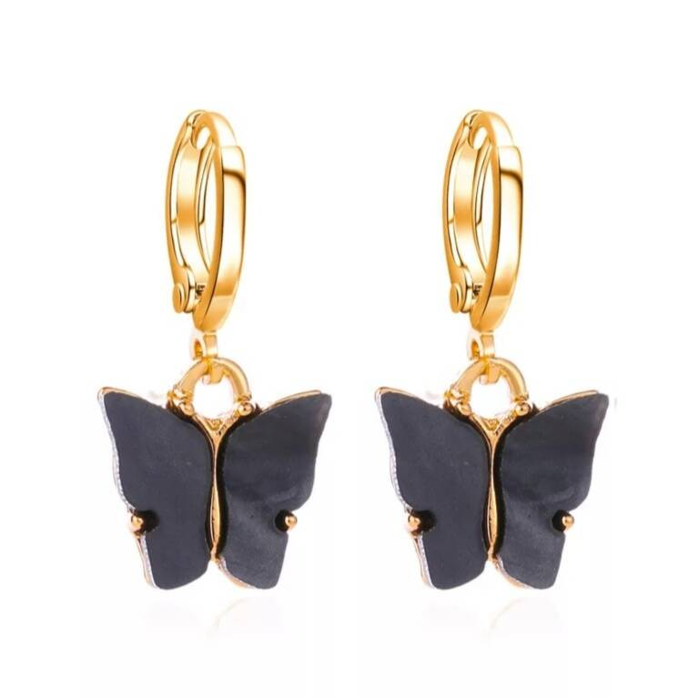 Earrings Butterfly Black