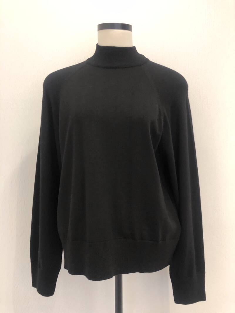 ALPHA STUDIO HALF LONG SLEEVE KNIT BLACK