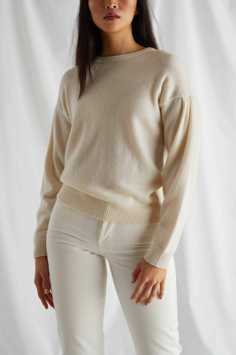 DAVIDA CASHMERE VOLUME SLEEVE LIGHT BEIGE