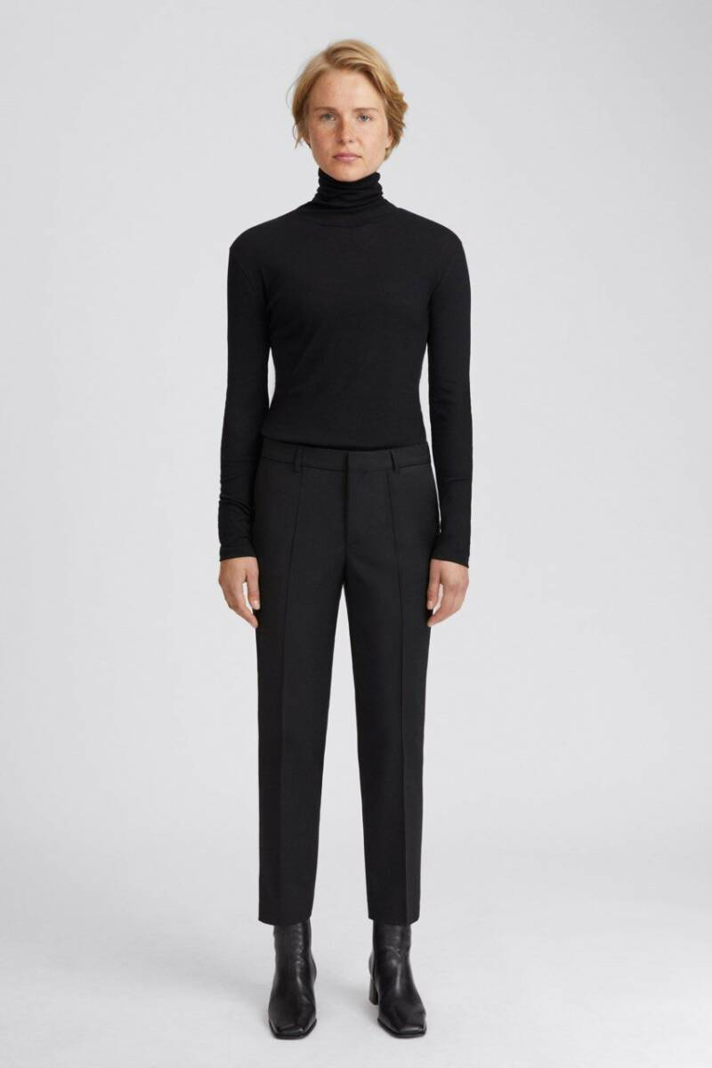 FILIPPA K EMMA CROPPED WOOL TROUSER BLACK