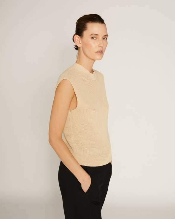 RUE BLANCHE RAW TOP SPENCER CREME