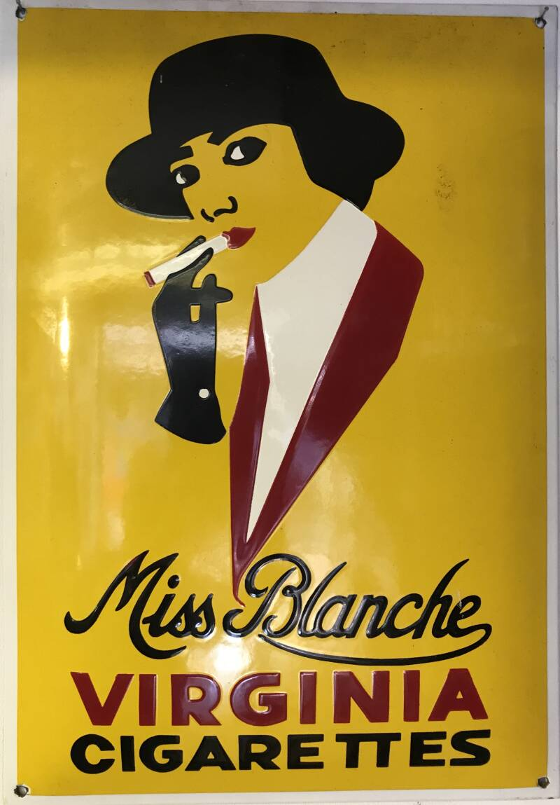Emaille wandbord Miss Blanche