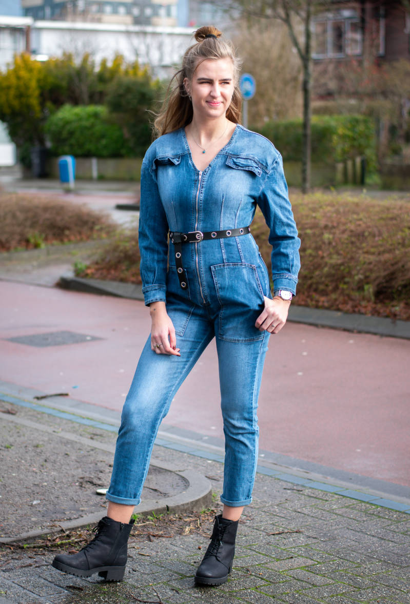 Utility jumpsuit washed denim