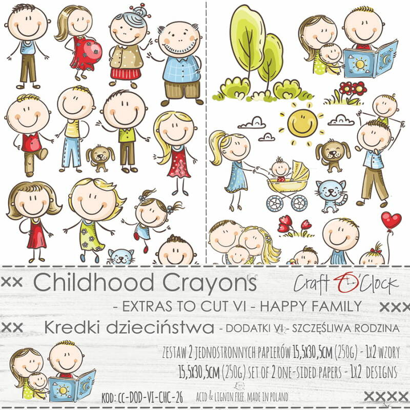CHILDHOOD CRAYONS, EXTRA TO CUT, HAPPY FAMILY