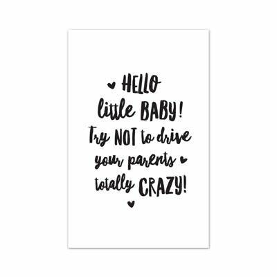 Mini kaartje met tekst 'Hello little baby! Try not to drive your parents totally crazy!' |