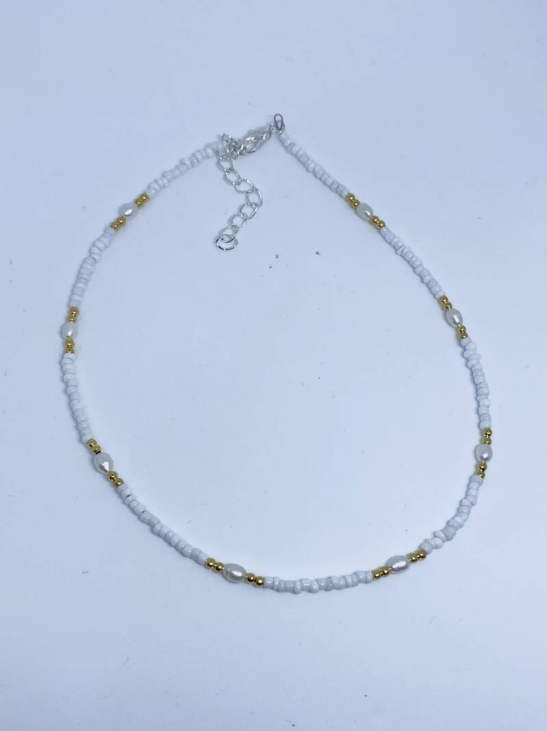 zoetwaterparel mix ketting ZILVER
