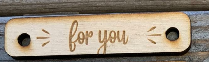 Houten label 'for you'