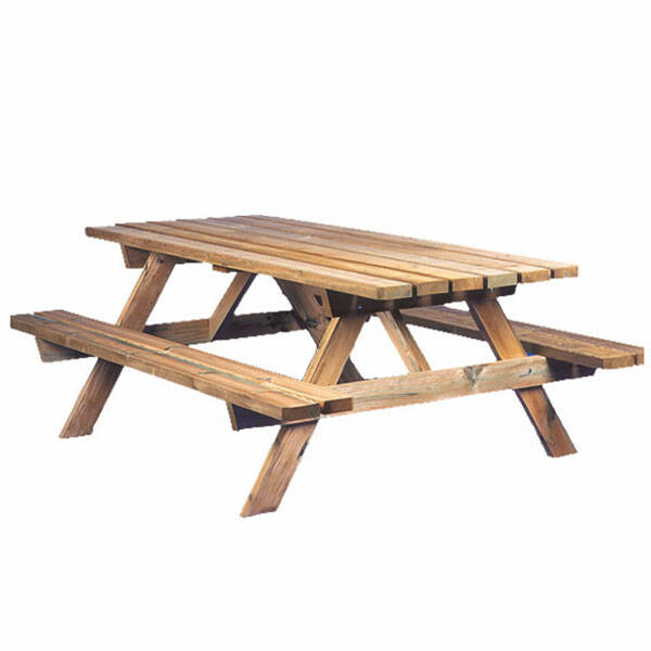Picknicktafel in geïmpregneerd grenen Tafelblad 800 x 1800 x 40 mm