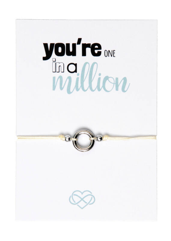 BeYou circle of life armbandje met gratis quote kaartje: You're one in a million