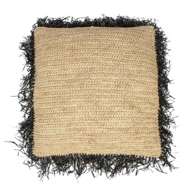 The Raffia Cushion Square - Natural Black - L