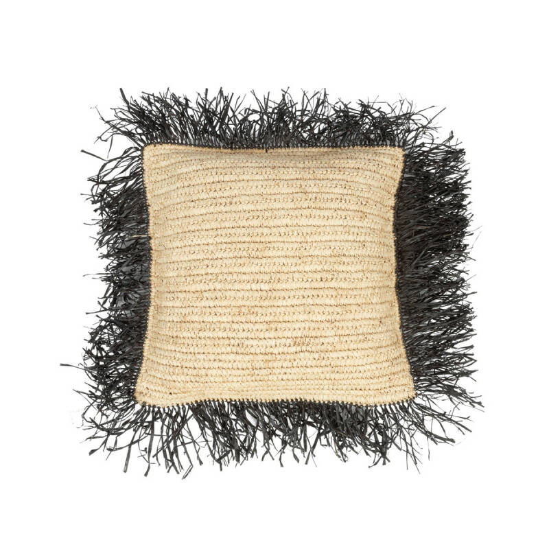 The Raffia Cushion Square - Natural Black - M
