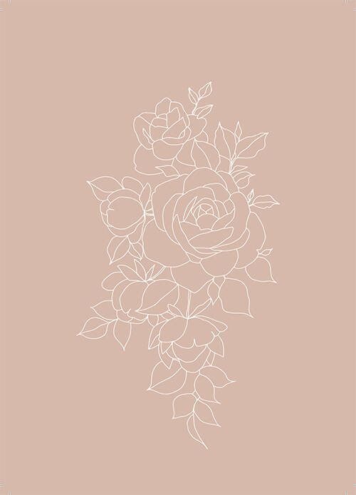 """Postcard """"Roses Linedrawing"""""""