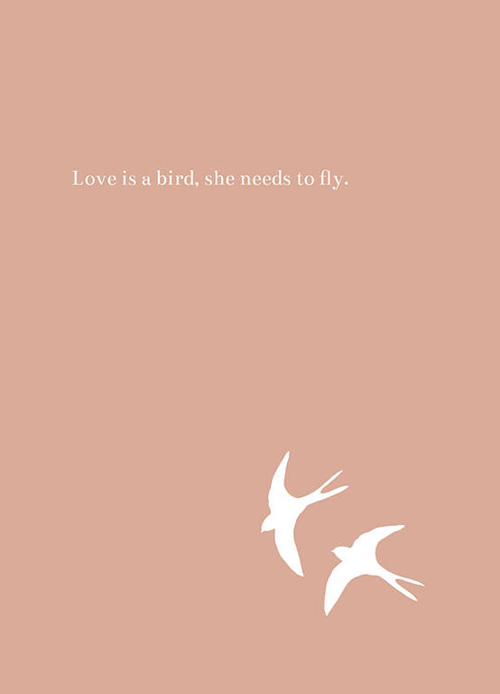 "Postcard ""Love is a bird"""