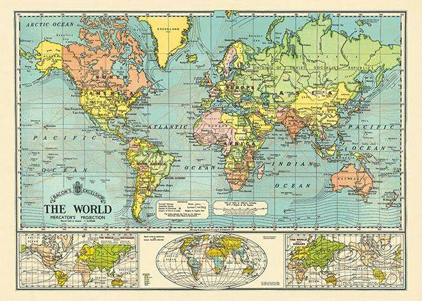 "Cavallini poster ""World Map Blue"""