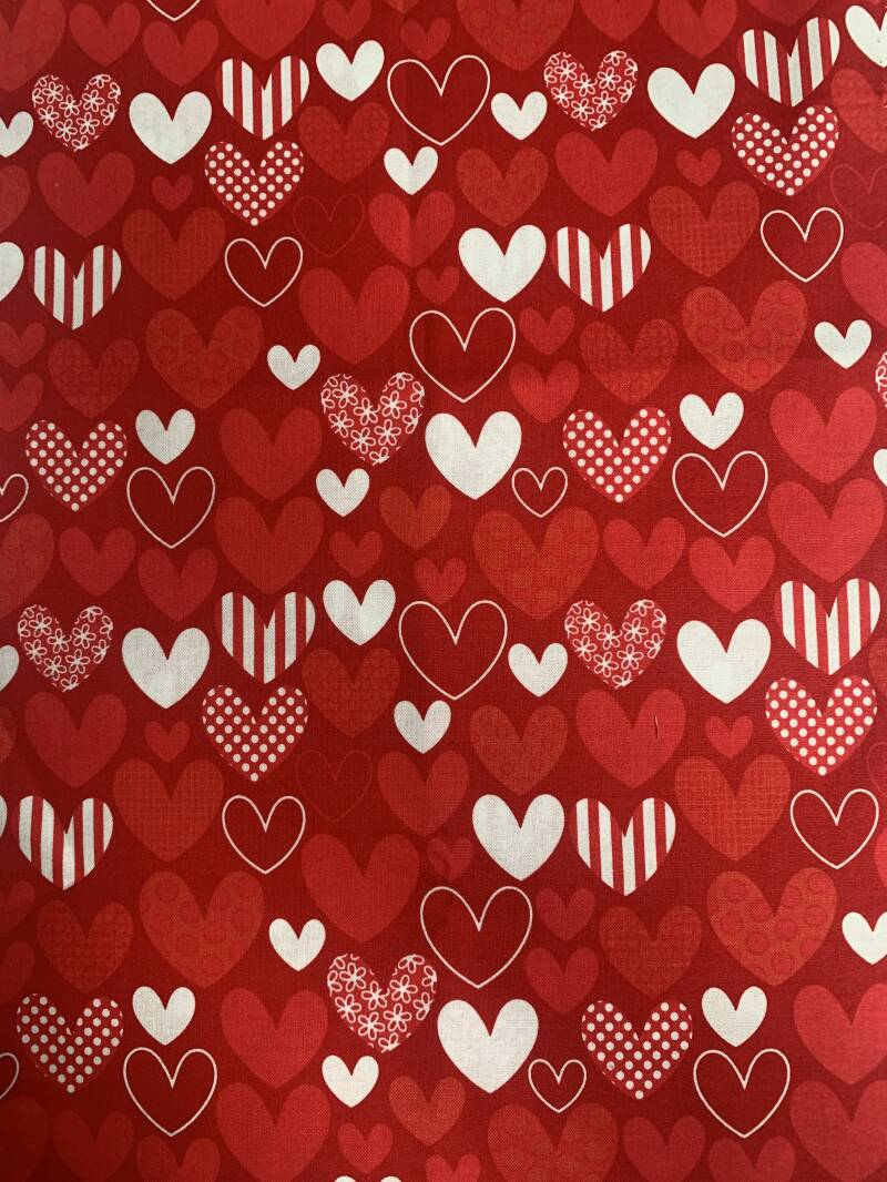 Coupon Rood hartjes 0.50 x 1.10 m