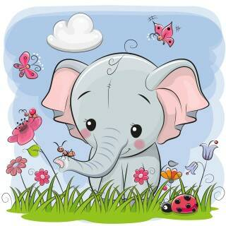 C.B. Crystal Art Kit Kinder Frame CAFBL-3  Elephant & Friends 16x16 cm