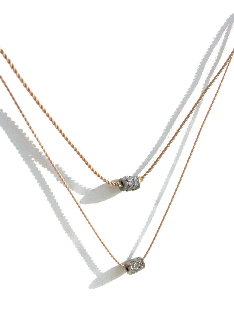 necklace with a pave diamond rondelle in 3 or 4 mm DN1451