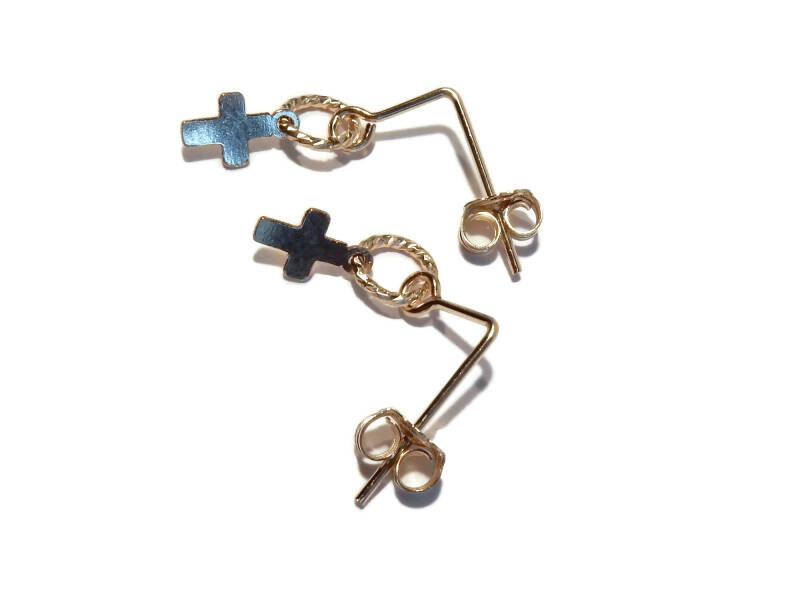 earrings small cross on sparkling ring E1109