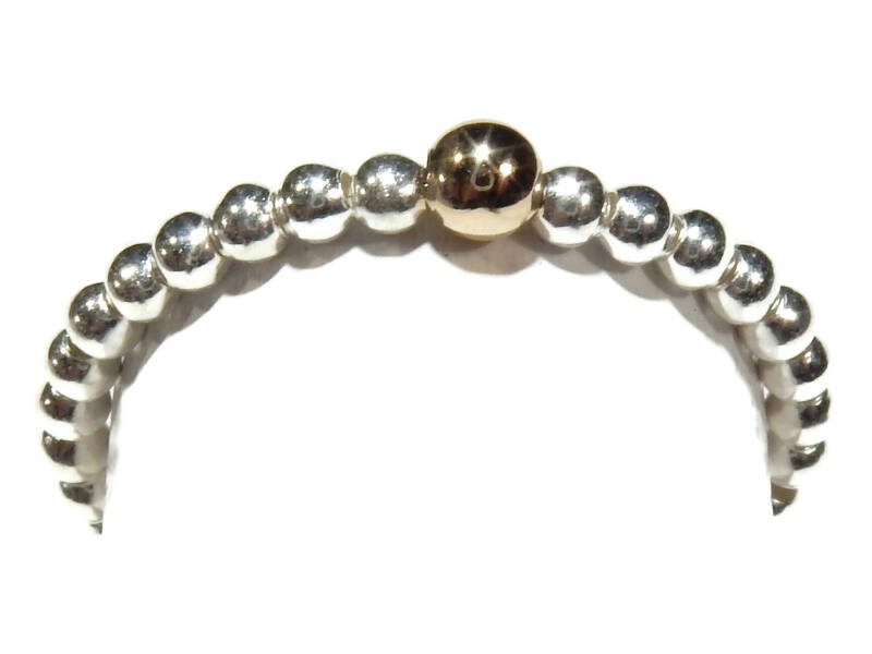 flexring 2 mm silver with shiny gold bead RF551
