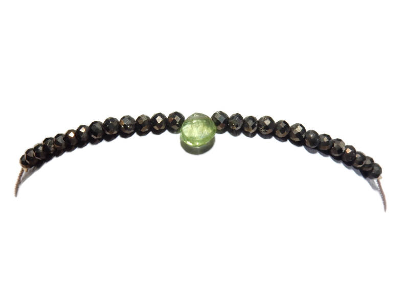 adjustable bracelet pyrite & peridot BAL1294