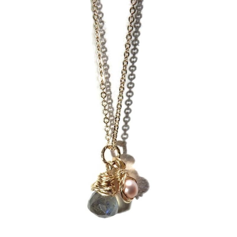 necklace Labradorite & pearl SPN1313
