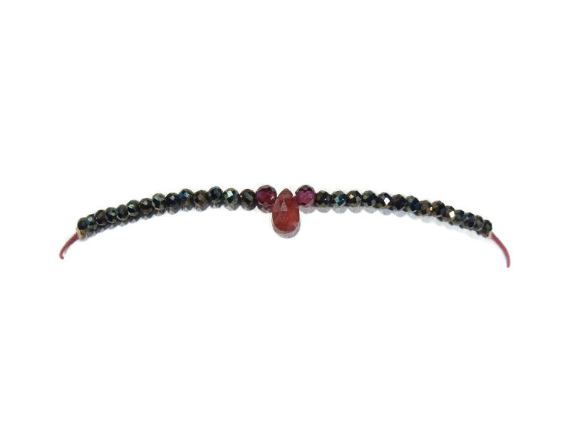 adjustabie bracelet 2 mm goldenbrown spinel and garnet BASP1395