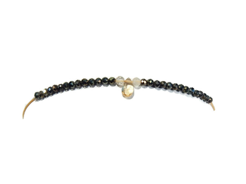 adjustabie bracelet 2 mm goldenbrown spinel and citrine BASP1397