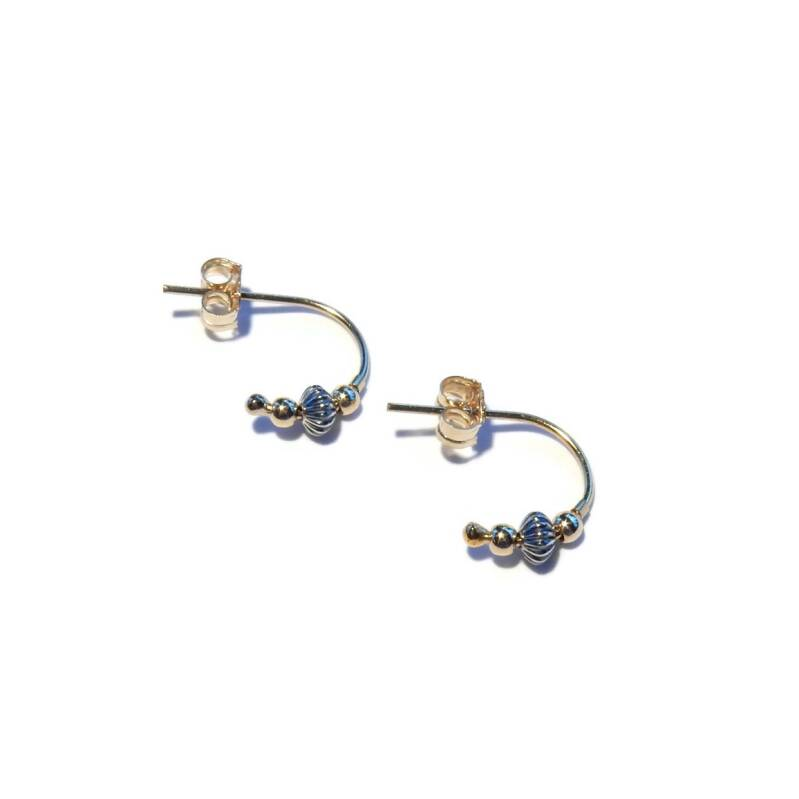 studs Moon oxidized silver & 14K/20 gold SMO1524
