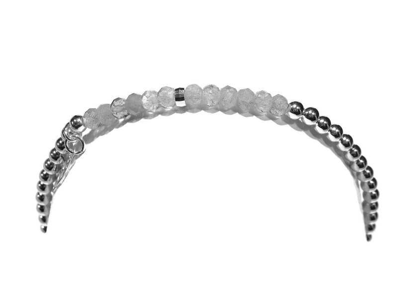 flexbracelet 3 mm in .925 silver and labradorite BFS306