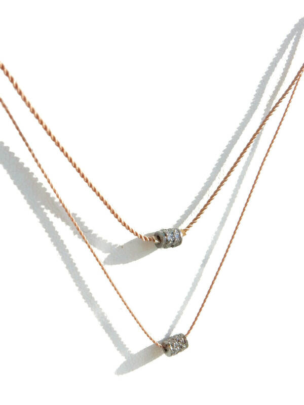pave diamond rondelle on a superstrong cord