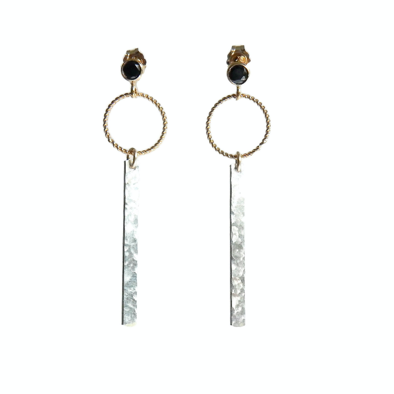 earrings Luc black CZ with hammered bar EL1077