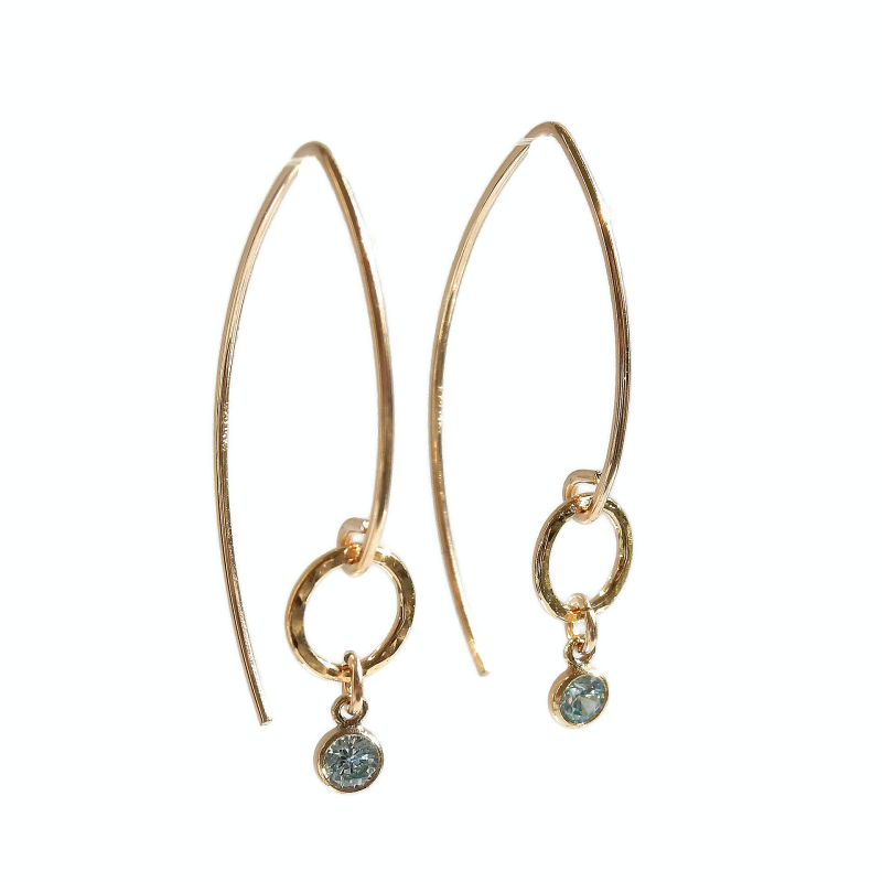 earrings Luc with aquamarine CZ on hammered ring EL1070