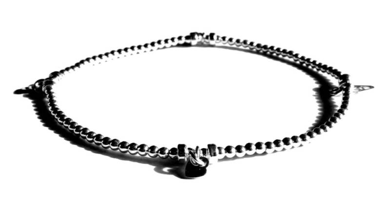 flexbracelet silver 2 mm with heart charms FBS203