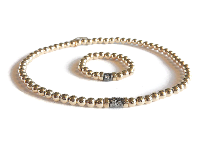 flexbracelet 3 mm 14K/20 gold with a pave diamond rondelle DB1452 from € 139
