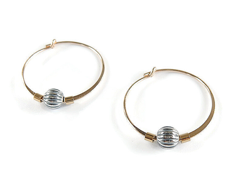 hoops with oxidized silver ball EB1558