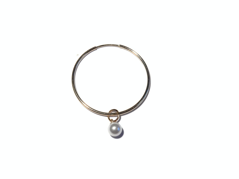 hoops small with crystal pearl