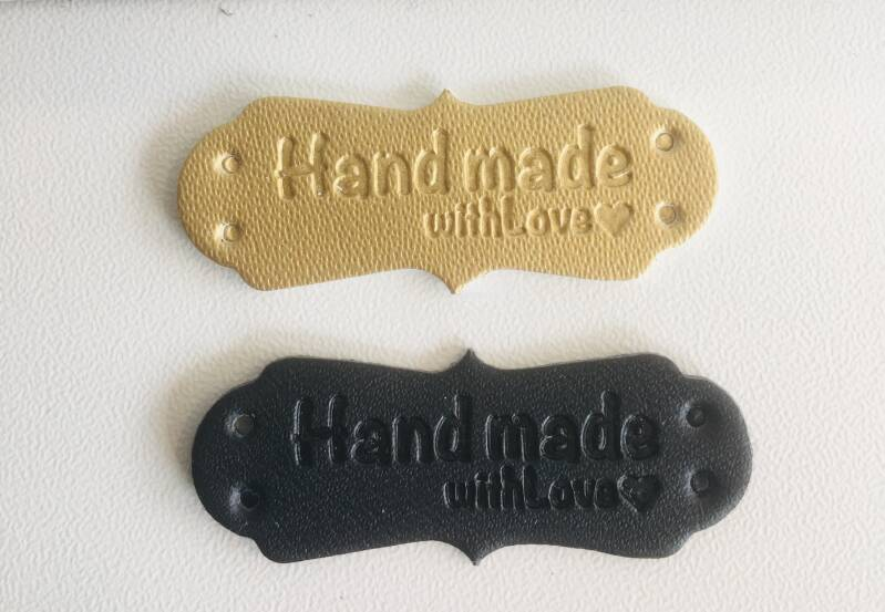 Label kunstleer Handmade with love