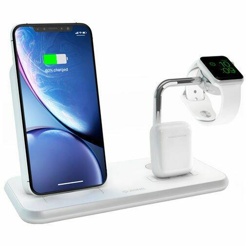 Zens Draadloze Snellader Stand 10W + AirPods Dock + Apple Watch Stand White
