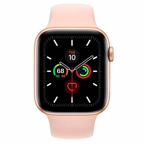 Apple Watch Series 5 Sport 44mm Gold Aluminium (Pink Silicone Strap)