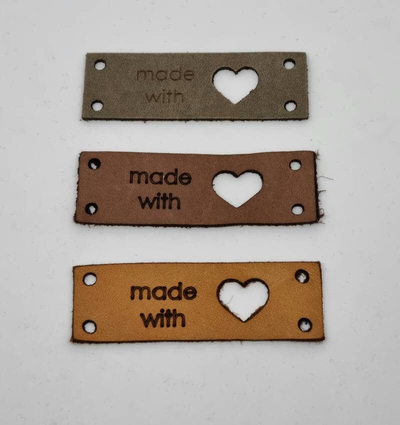 Leren label, made with ♥, Daphne Brand't