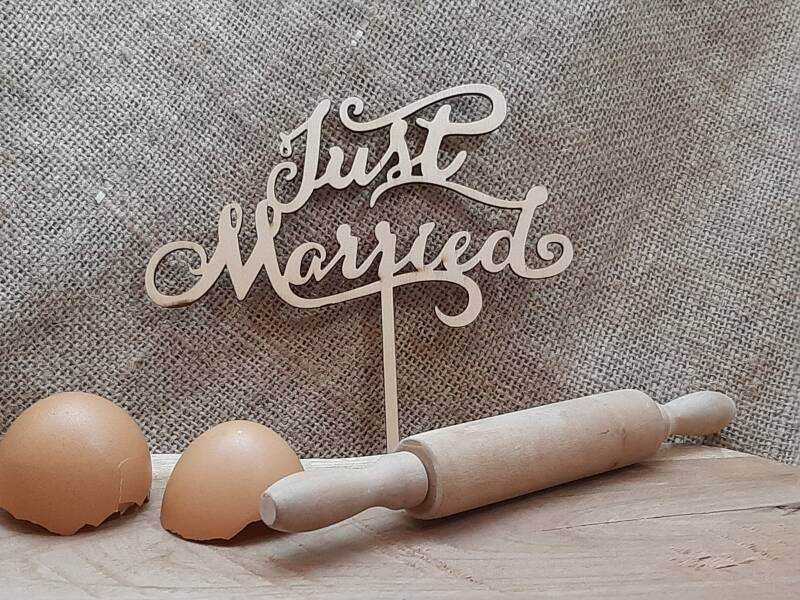Taarttopper Just Married - hout